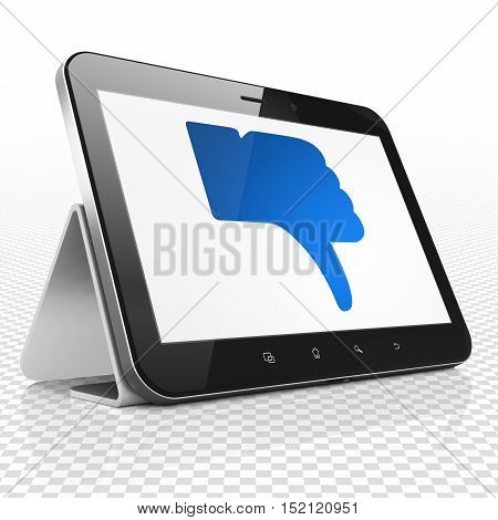 Social media concept: Tablet Computer with blue Thumb Down icon on display, 3D rendering
