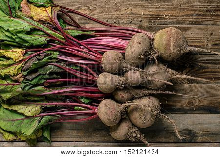 Beetroot with leaves and stems