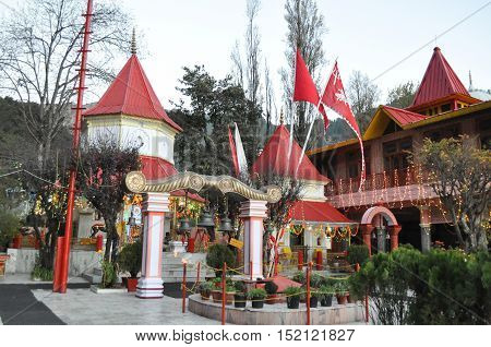 November 11, 2015: Naina Devi Temple early in the morning on Diwali festival day is devoted to Naina Devi is situated right on Naini Lake near Flat at Mallital, Nainital, Uttarakhand, India. Nainital is a popular hill station in Uttarakhand, named after t