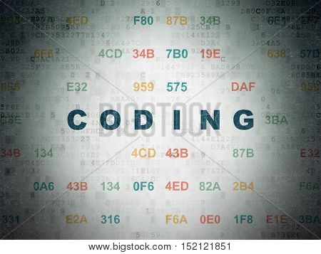 Database concept: Painted blue text Coding on Digital Data Paper background with Hexadecimal Code