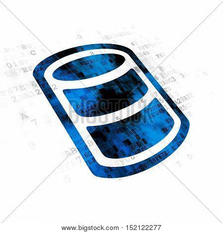 Programming concept: Pixelated blue Database icon on Digital background