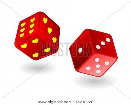 red dices with hearts