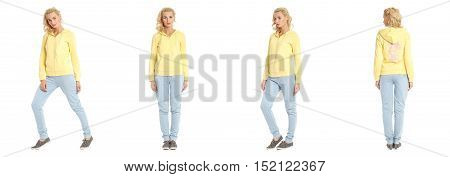 Portrait Of Young Slim Sporty Beautiful Woman In Sportswear Isolated