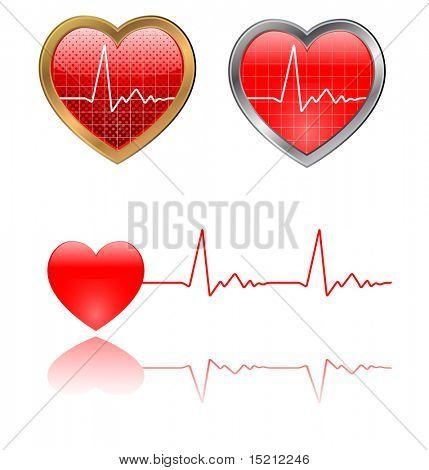 vector heart beats graph