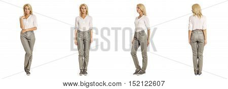 Blonde Woman In Loose Leather Pants Isolated On White