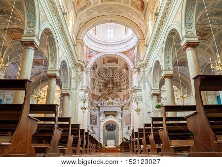 TRAPANI ITALY - SEPTEMBER 12 2015: Interior of the Basilica of St. Lawrence the Martyr is the cathedral of the Roman Catholic Diocese of Trapani Sicily Italy.