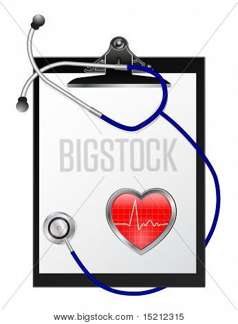 vector checklist with stethoscope and heart graph