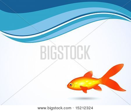 golden fish on wave background