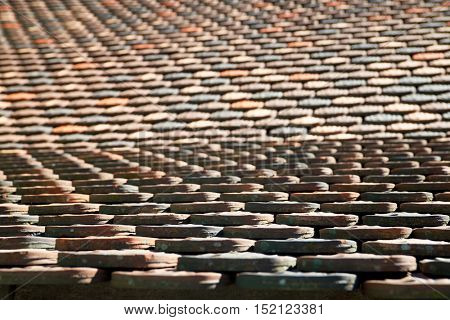 Roof close up in Haut Koenigsbourg Castle, Alsace, France.