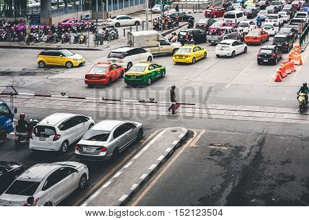 Rush Hour With Cars And Generic Vehicles Traffic Jam In Bangkok Thailand. (Real Life Transportation Concept Mode), Bangkok, Thailand On September 19, 2016