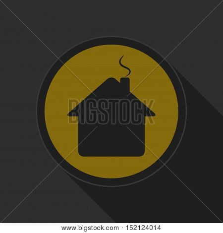 yellow round button black home with chimney icon and long shadow