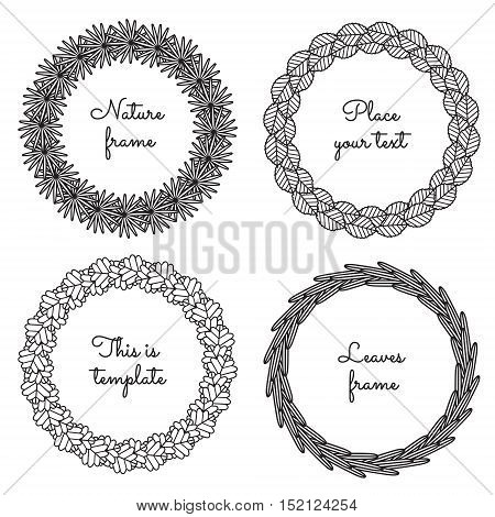 Circle nature frames (black) with leaves (palm apple tree aspen sea buckthorn) vector set. Vintage style. Perfect for invitations and other design.