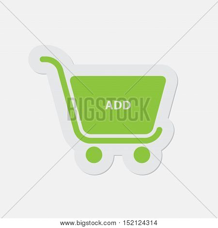 simple green icon with light gray contour and shadow - shopping cart add on a white background