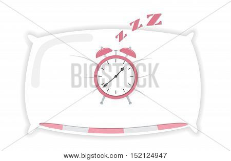 Cartoon Alarm sleeping on pillow clock icon isolated vector illustration background