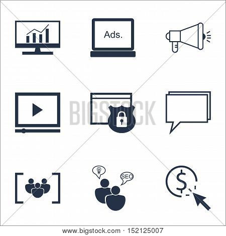 Set Of Advertising Icons On Media Campaign, Security And Video Player Topics. Editable Vector Illust