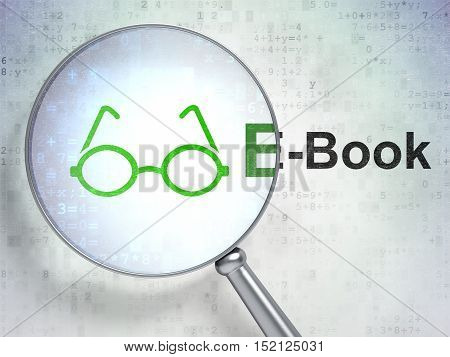 Studying concept: magnifying optical glass with Glasses icon and E-Book word on digital background, 3D rendering