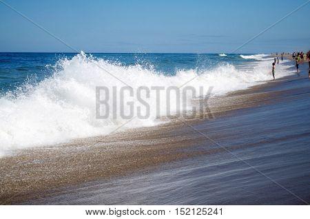 Cape Code Beach with waves at Nauset Beach.