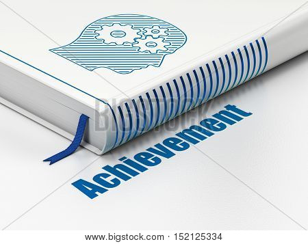 Learning concept: closed book with Blue Head With Gears icon and text Achievement on floor, white background, 3D rendering