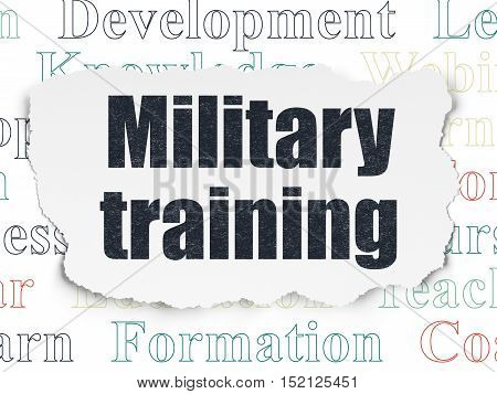 Education concept: Painted black text Military Training on Torn Paper background with  Tag Cloud
