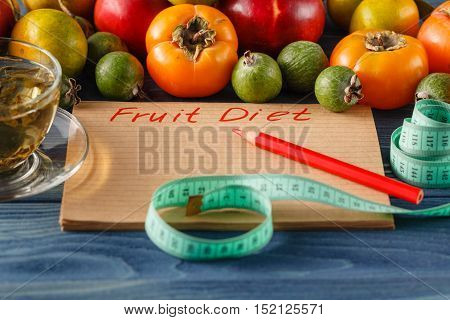 diet fruit apple centimeter on wooden background