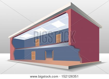 The building cross section. Look inside the house. Esolated vector illustration EPS8