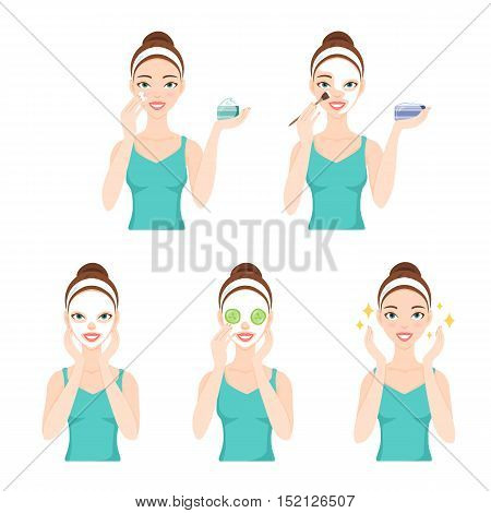 Attractive pretty young woman dressed in casual t-shirt care her face and skin using cream and applying natural mask. Facial treatment procedures skincare healthy lifestyle.