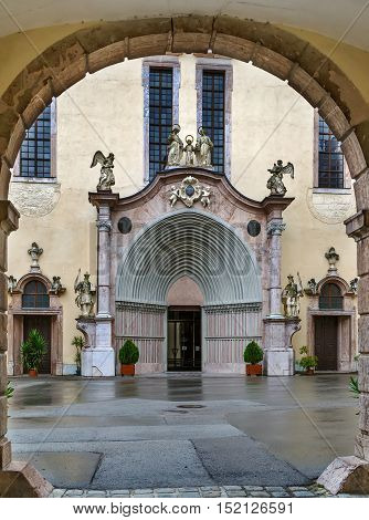 Lilienfeld Abbey is a Cistercian monastery in Lilienfeld in Lower Austria south of Sankt Polten. Portal of abbey church