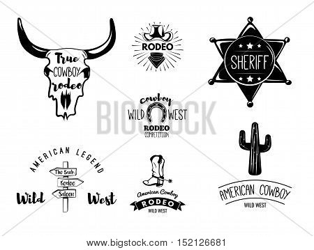 Wild West. Set of vintage rodeo emblems, labels, logos, badges and designed elements. Western USA label about wild west. Vector