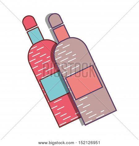 liquor bottles pink and blue over white background. vector illustration