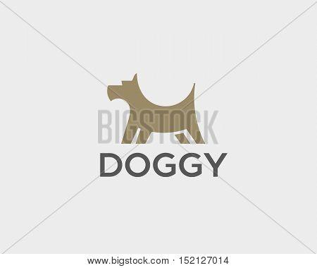Puppy logo design template. Dog creative sign. Pet veterinary vector icon logotype