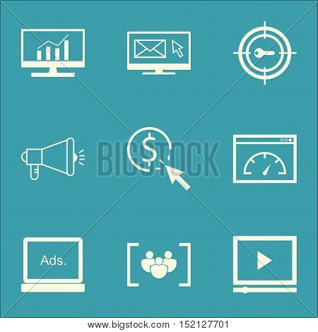 Set Of Marketing Icons On Newsletter, Loading Speed And Media Campaign Topics. Editable Vector Illus