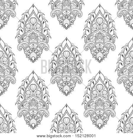 Floral leaf seamless pattern in zentangle style. Freehand sketch for adult antistress coloring page with doodle elements. Ornamental artistic vector illustration for tattoo, t-shirt print.