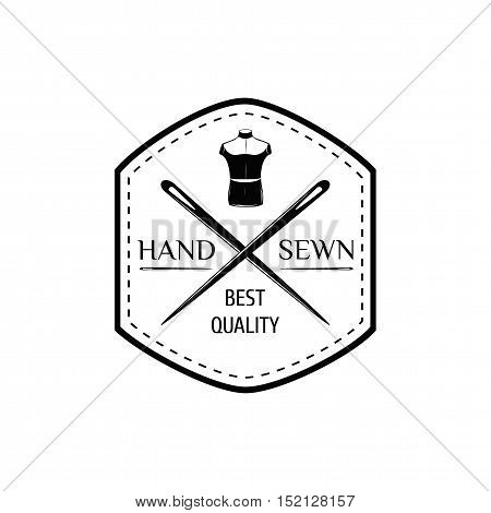Silhouette Mannequin. Needle. Sewing Label. Badge Tailor Vector Illustration