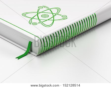 Science concept: closed book with Green Molecule icon on floor, white background, 3D rendering