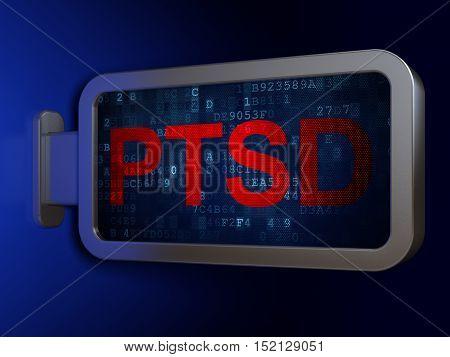Healthcare concept: PTSD on advertising billboard background, 3D rendering