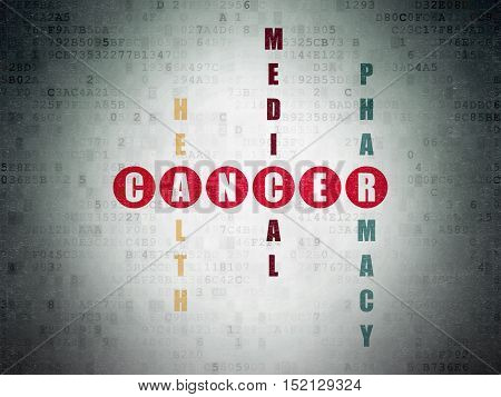 Medicine concept: Painted red word Cancer in solving Crossword Puzzle on Digital Data Paper background