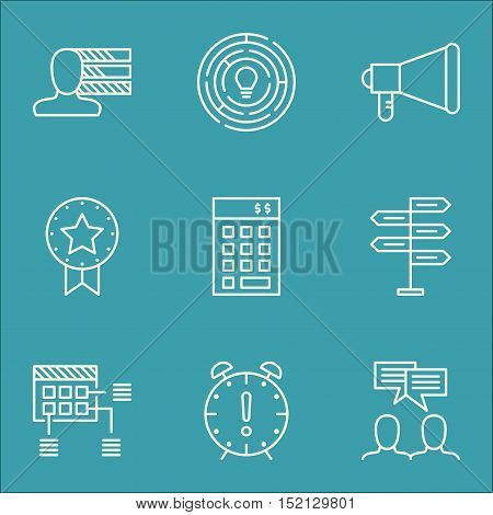 Set Of Project Management Icons On Investment, Announcement And Innovation Topics. Editable Vector I