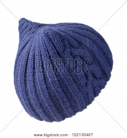 Women's Knitted Hat Isolated On White Background.hat Blue