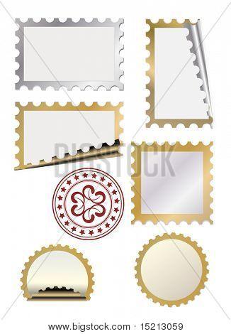 vector golden  post stamp template