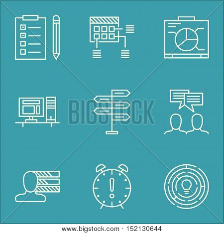 Set Of Project Management Icons On Schedule, Computer And Reminder Topics. Editable Vector Illustrat