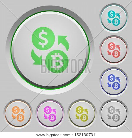 Set of color Dollar Bitcoin exchange sunk push buttons.