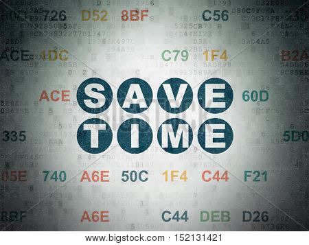 Time concept: Painted blue text Save Time on Digital Data Paper background with Hexadecimal Code