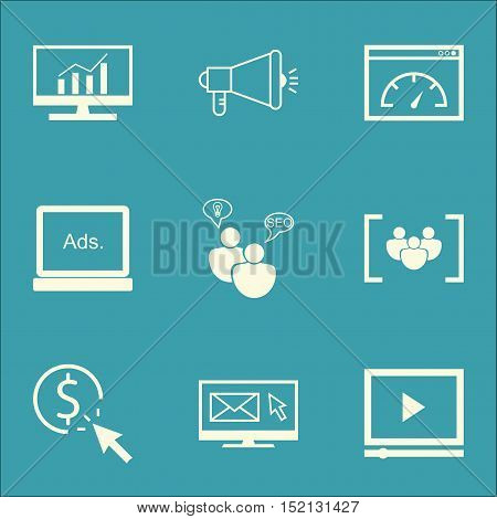 Set Of Advertising Icons On Media Campaign, Newsletter And Market Research Topics. Editable Vector I