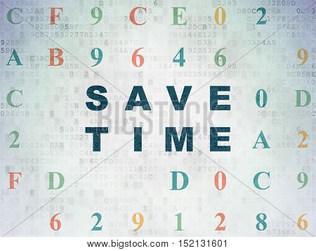 Timeline concept: Painted blue text Save Time on Digital Data Paper background with Hexadecimal Code