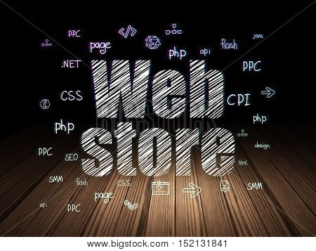 Web design concept: Glowing text Web Store,  Hand Drawn Site Development Icons in grunge dark room with Wooden Floor, black background