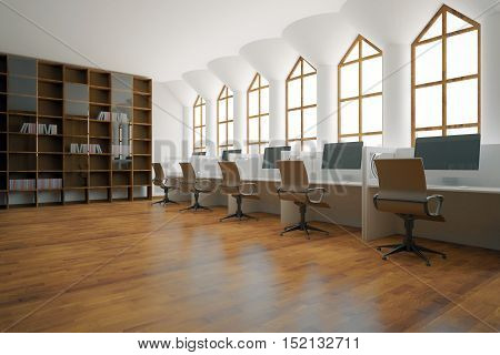 Side view of library interior with wooden bookshelves and workplaces with computers. 3D Rendering
