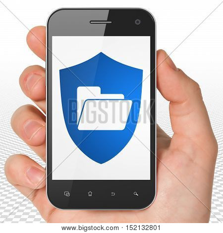 Business concept: Hand Holding Smartphone with blue Folder With Shield icon on display, 3D rendering