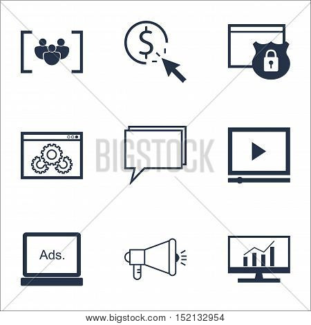 Set Of Advertising Icons On Questionnaire, Media Campaign And Video Player Topics. Editable Vector I