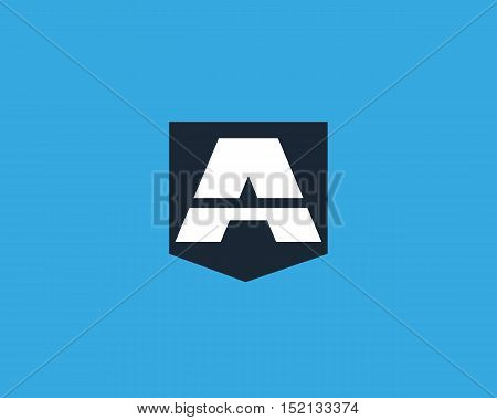 Abstract letter A shield logo design template