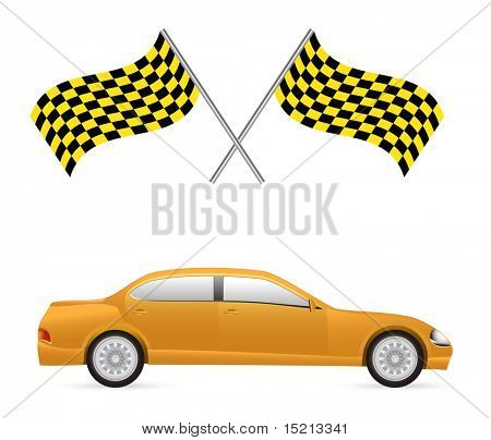 vector racing flag and car